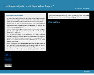 Lombalgies aiguës : « red flags, yellow flags » ? icon